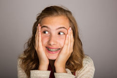 Happy Teenager. With braces and a surprised expression Stock Images