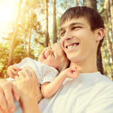 Happy Teenager and Child Stock Photo