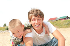Happy teenager and childboy Royalty Free Stock Photos