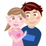 Happy Teenager Couple Hugging. Illustration featuring a happy couple of lovers hugging isolated on white background. You can find other illustrations featuring Royalty Free Stock Photo