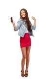 Happy teenager dancing isolated on white Royalty Free Stock Images