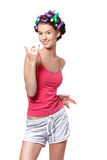 Happy teenager drying her nails Royalty Free Stock Photo