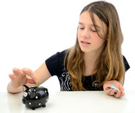 Happy teenager with euro money savings Royalty Free Stock Photo