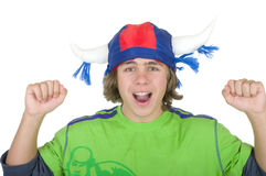 Happy teenager in a fan helmet. On a white background Stock Photography