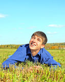 Happy Teenager in the Field. Happy Teenager in the Autumn Field Royalty Free Stock Photo