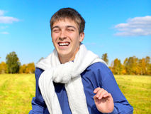 Happy Teenager in the Field Royalty Free Stock Image