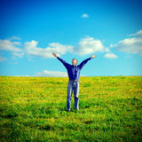 Happy Teenager in the Field Stock Photography