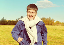 Happy Teenager in the Field Stock Images