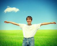 Happy Teenager in the Field Stock Photo