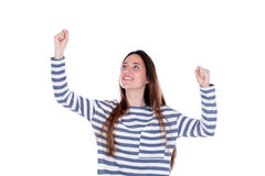 Happy teenager girl celebrating something leaving her hands Stock Photo