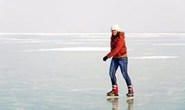 Free Happy Teenager Girl Is Skating On Frozen Lake Bala Stock Photo - 23217860