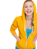 Happy teenager girl listening music in earphones Royalty Free Stock Photo