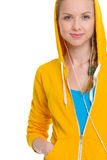 Happy teenager girl listening music in earphones Stock Photography