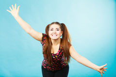 Happy teenager girl with ponytails Royalty Free Stock Image