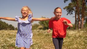 Happy teenager girls running on green field in summer countryside. Cheerful girls running on flowering meadow in village. Happy girl spending summer vacation stock video footage