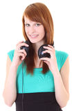 Happy teenager with headphones in dress Royalty Free Stock Photos
