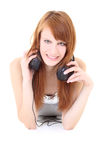 Happy teenager with headphones lying Royalty Free Stock Photo