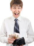 Happy Teenager holds Russian Currency Royalty Free Stock Photography