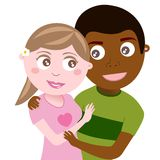Happy Teenager Interracial Couple Hugging. Illustration of a couple of interacial lovers hugging isolated on white background. Eps file is available Stock Photography