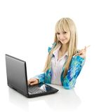 Happy teenager with laptop Royalty Free Stock Photo