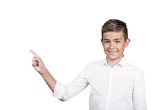 Happy teenager pointing at blank copy space Stock Images