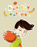 Happy teenager present healthy food Royalty Free Stock Photography