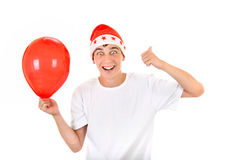 Happy Teenager with Red Balloon Royalty Free Stock Photo