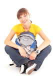 Happy teenager with rucksack. Beautiful happy teenager girl with rucksack isolated on white background Royalty Free Stock Photography