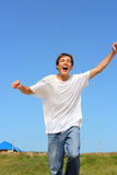 Happy teenager running Royalty Free Stock Photography