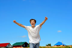 Happy teenager running Royalty Free Stock Images