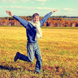 Happy Teenager running Royalty Free Stock Photo