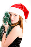 Happy teenager in Santa hat Royalty Free Stock Photos