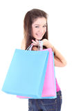 Happy teenager with shopping bags Stock Photography
