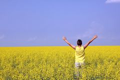 Teenager in oilseed field - summer background. Happy teenager standing in an oilseed field with hands up and looking towards the blue sky - summer background stock photography