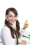 Happy teenager study chemistry Royalty Free Stock Photos
