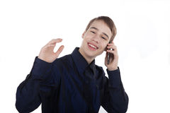 Happy teenager talking on the phone Stock Photo