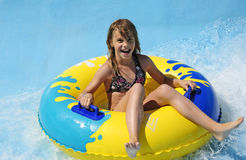 Happy teenager in water park Royalty Free Stock Images