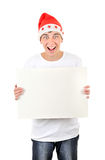 Happy Teenager with White Board. Happy Teenager holds White Board Isolated On The White Background Royalty Free Stock Photography