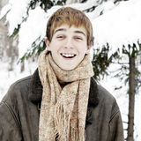Happy Teenager in Winter Forest Stock Photography