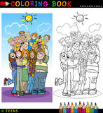 Happy Teenagers group for coloring. Coloring Book or Page Cartoon Illustration of Happy Boys and Girls Teenagers Group giving a Hug and Laughing Stock Photos