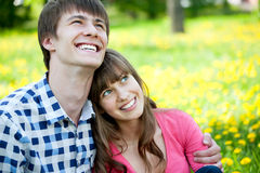 Happy teenagers in love Stock Images