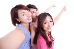 Happy teenagers taking pictures Royalty Free Stock Photos