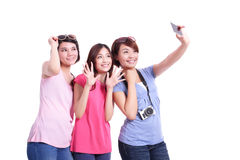 Happy teenagers taking pictures Royalty Free Stock Photo
