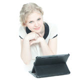 Happy teenege girl with tablet pc computer Stock Image