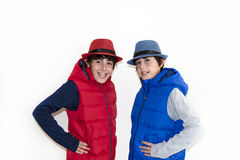 Happy Teens with Autumn Clothes Stock Photo