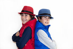 Happy Teens with Autumn Clothes Royalty Free Stock Photos
