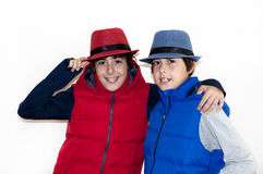 Happy Teens with Autumn Clothes Royalty Free Stock Images