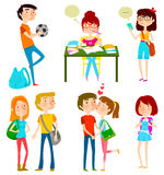 Happy teens. Collection of cartoon happy teenagers Stock Images