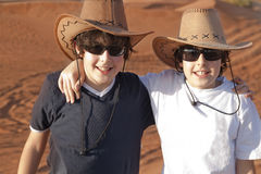 Happy Teens in a Desert Stock Photography