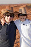 Happy Teens in a Desert. Happy Teens in a   Arabian Desert ,Dubai Stock Photo